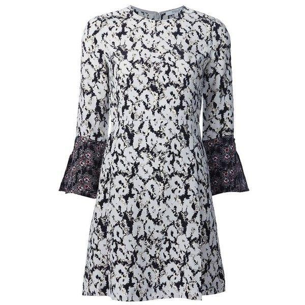 Derek Lam 10 Crosby Button Detail Bell Sleeve Dress (780 CAD) ❤ liked on Polyvore featuring dresses, black multi, short, button dress, short animal print dresses, animal print dresses, short dresses and bell sleeve dress