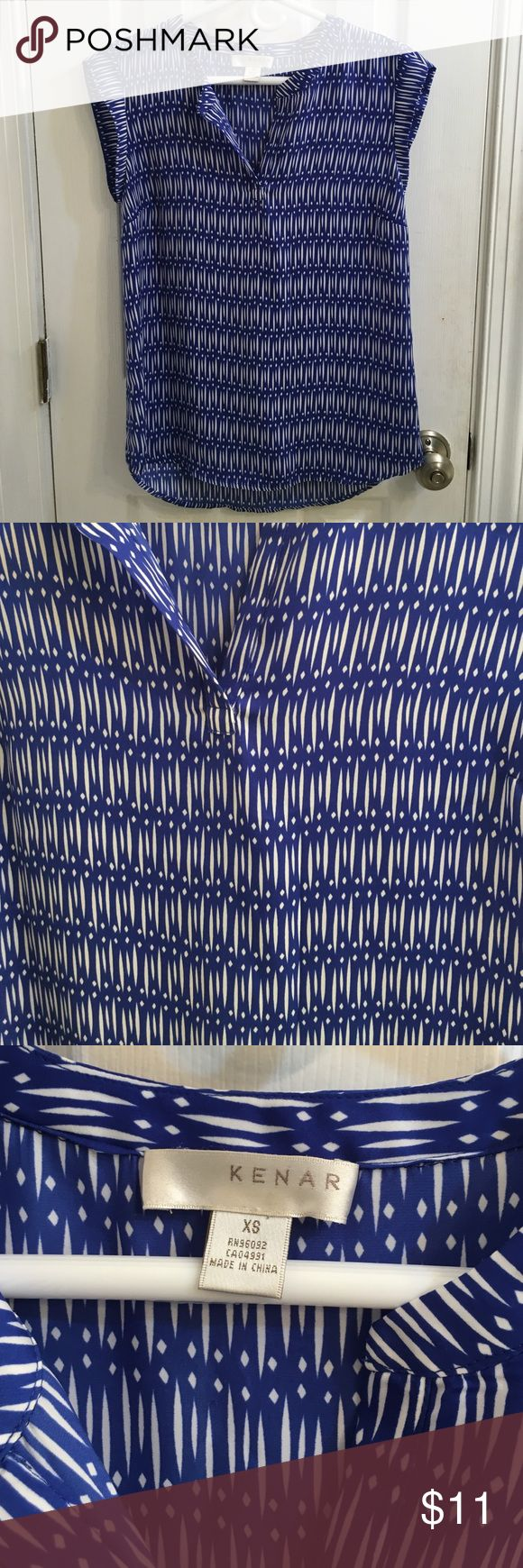 Kenar blue and white blouse Royal blue and white Aztec patterned Blouse from Marshalls. Brand is Kenar. EUC. Size XS fits TTS. Kenar Tops Blouses