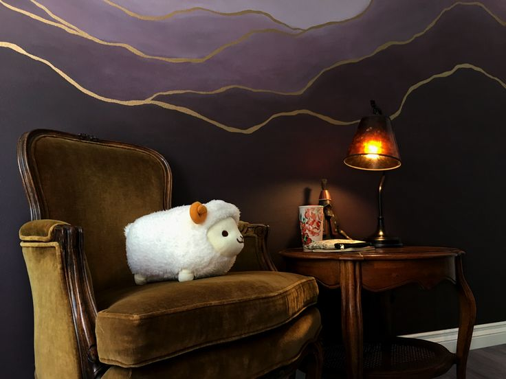 Purple wall paint. Ombre eggplant indoor mural with gold ...