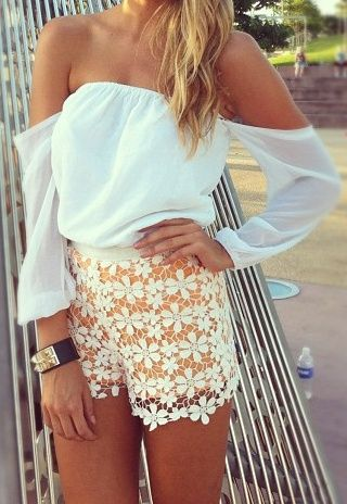 Cute Summer Clothes: Fashion, Tops, Style, Clothes, Summer Outfits, Shoulder Top, Closet, Lace Shorts, Shirt
