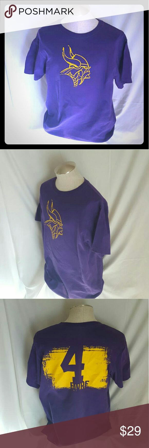 Minnesota Vikings Brett Favre Jersey T Shirt Machine washable 100% cotton   Pit to pit 22 Top collar to hem 28  Normal wear Gently used Size may vary   Great piece for any collector or fan   Shipped with care Buy with confidence  Best offer   Please review all pictures and descriptions to verify what you are buying  Thank you for checking out my listings today NFL Team Apperal Shirts Tees - Short Sleeve