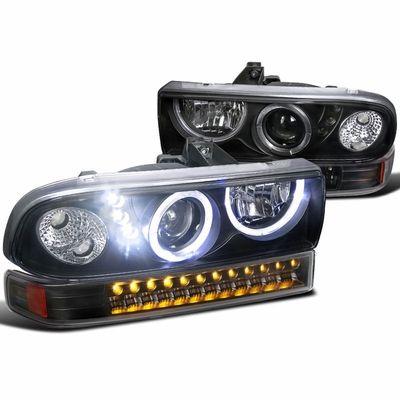 98-04 Chevy S10 Pickup / Blazer Angel Eye Halo LED Projector Headlights + LED Bumper Lights - Black