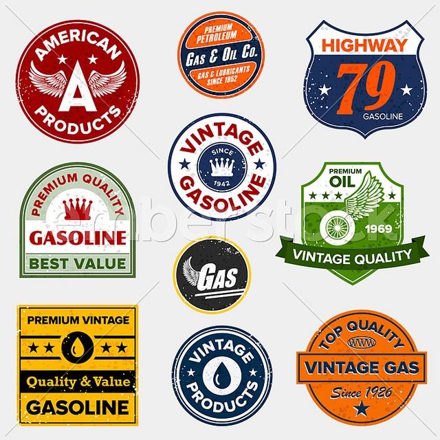 Vintage gas station signs.