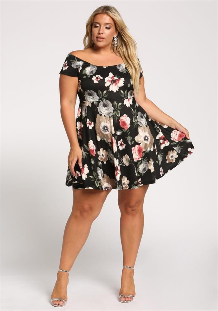 Plus Size Clothing | Plus Size Off Shoulder Floral Flared Dress ...