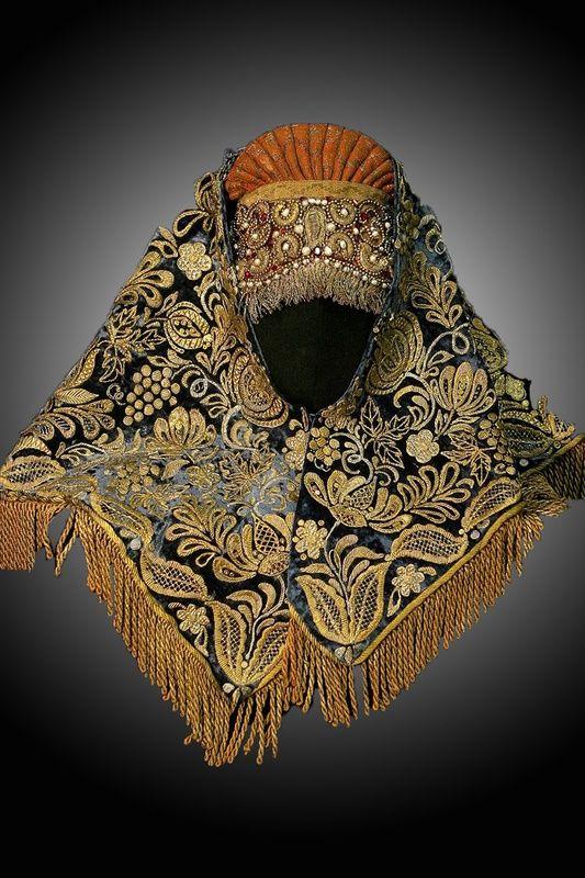 Кика красная и платок золотом расшитый | Art Party - творческая мастерская | Creative workshop