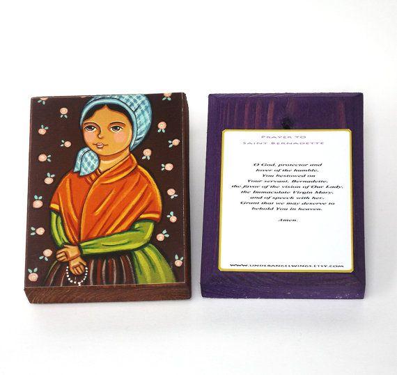 St Bernadette Wood block print Saint Bernadette by UnderAngelWings