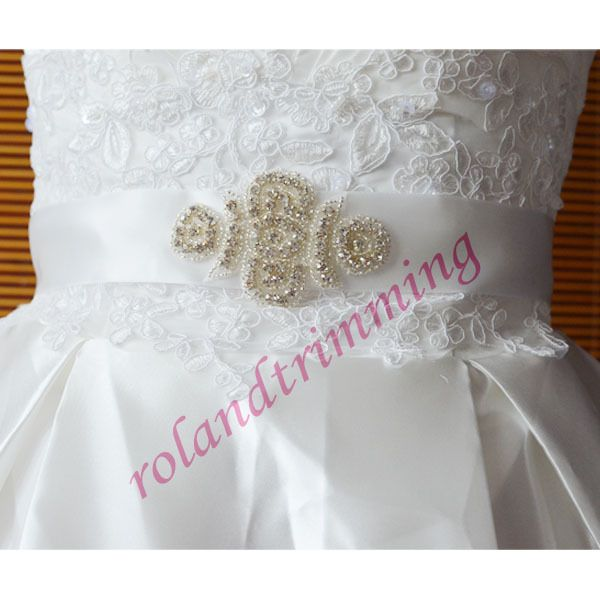 10,82 3sztwholesale bride new bridal crystal rhinestone dress applique for sashes for sale designer belts ra211