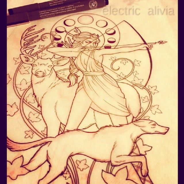 Goddess Diana outline for tonight's half sleeve. #needsmoarivy