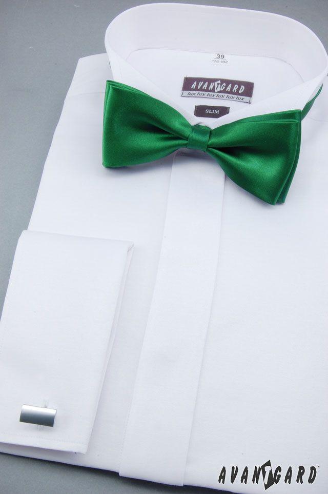 Fraková košile AVANTGARD, manžetové knoflíčky AVANTGARD PREMIUM a zelený motýlek AVANTGARD PREMIUM /// Mens shirt AVANTGARD, cufflinkgs and green bow tie AVANTGARD PREMIUM