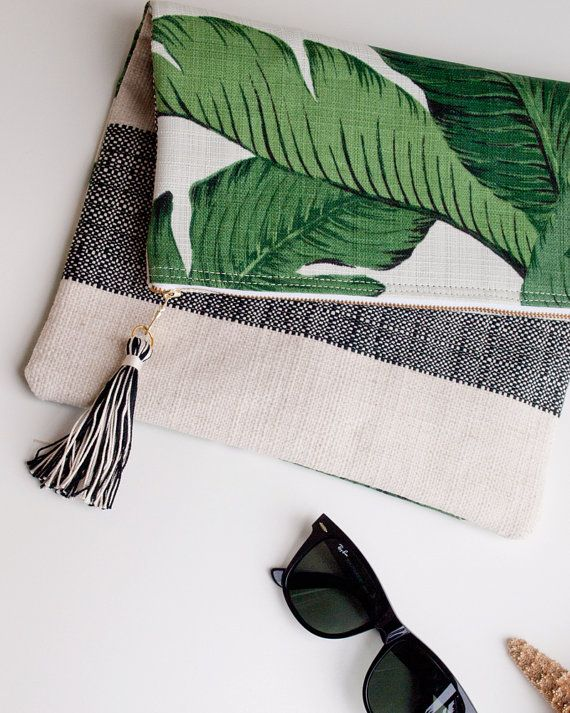 Green Foldover Clutch Purse or iPad Sleeve / Martinique Beverly Hills Tropical Banana Leaf Fabric  A soft foldover clutch perfect for spring,