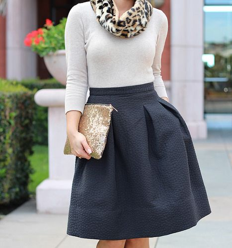 cute fit and flare skirt