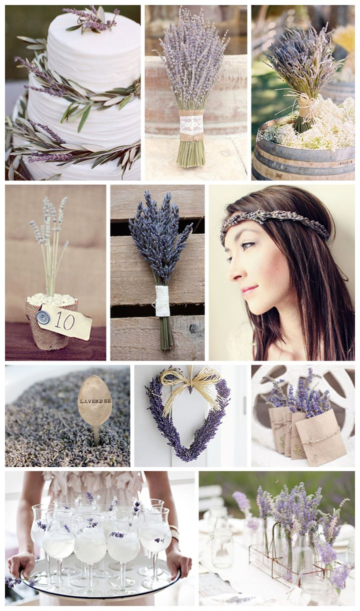 totally amazing purple inspiration board by bow ties & bliss, featuring lavender in bouquets, on the wedding cake, in the bride's hair {swoon}