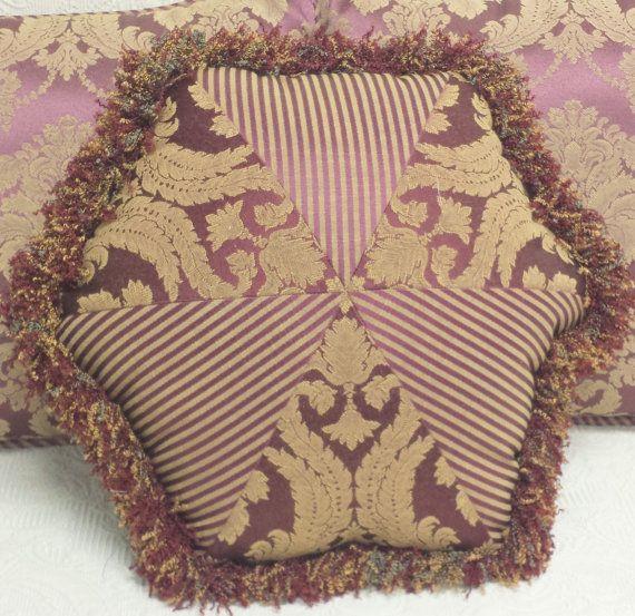 Burgundy Gold Damask Striped Throw Pillow with Fringe: victorian, elegant, marsala wine, plum ...