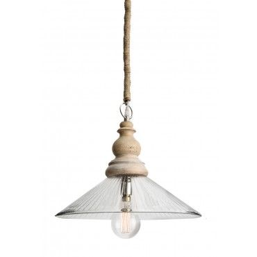Transparent Glass And Wood Pendant Lamp