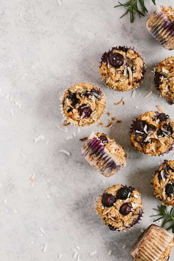 These gluten-free and flourless blueberry muffins are made with coconut and almond flours and sweetened with ripe bananas and maple syrup.