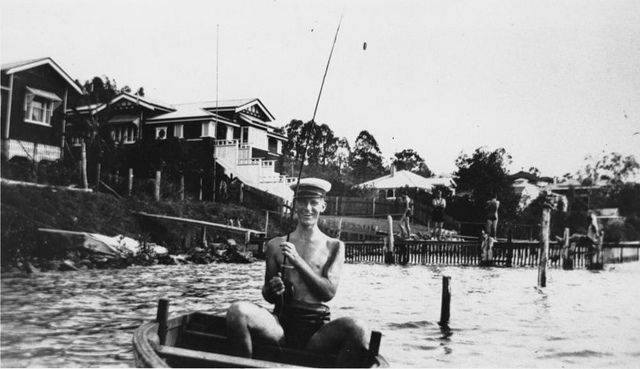 Fishing in the Brisbane River at Norman Park, ca. 1934 (via the State Library of Queensland)