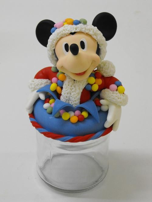 Mickey Mouse Santa  Christmas clay cake  topper