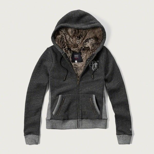 Abercrombie & Fitch Faux Fur Lined Hoodie (925 ARS) ❤ liked on Polyvore featuring dark grey and abercrombie & fitch
