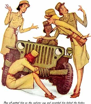 """The Wonderful World of Wilbur the Jeep (1944) Norman Rockwell. """"They all petted him on the radiator cap and scratched him behind the fenders."""""""