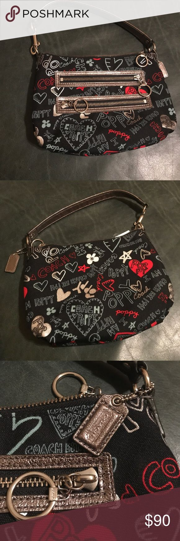 Coach poppy graffiti glam hearts NWT Coach poppy purse pretty black base with multicolor writing.  Purchased at Nordstrom.  No flaws at all.  RARE!  Make me an offer!  100% authentic. Coach Bags