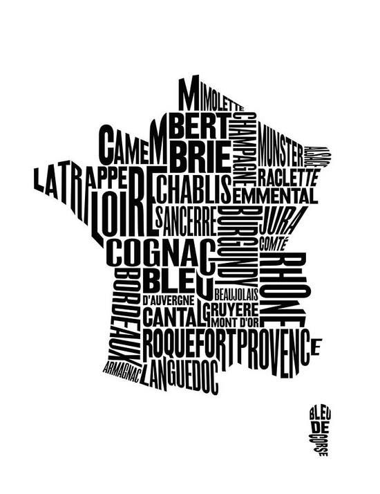 Map of France showing culinary regions (cheese, wine, spirits, etc) as font faces. FAB!