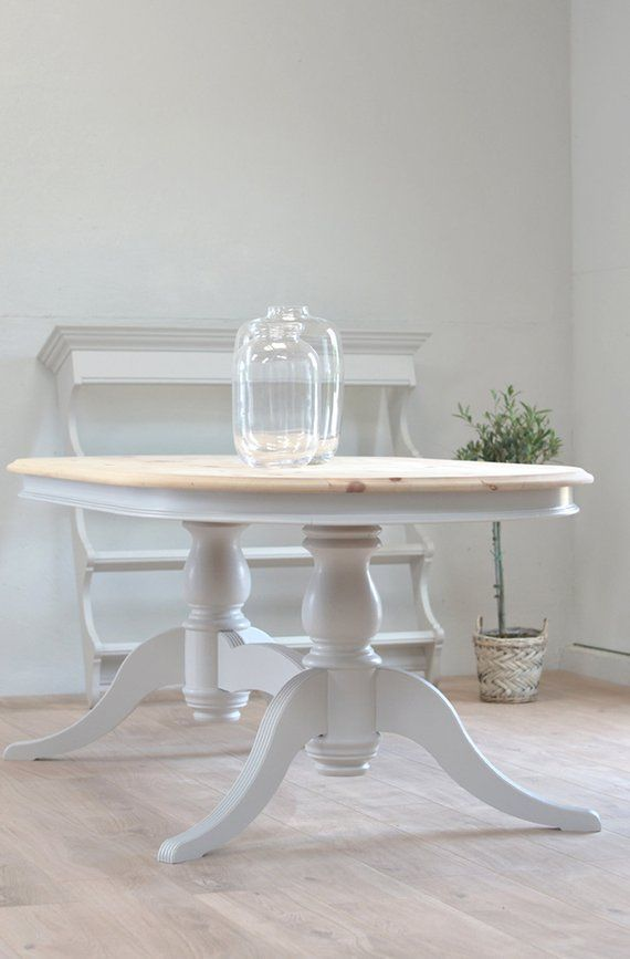 Rustic Grey Dining Table Twin Pedestal Table Oval Table Contemporary Table Painted Table Solid Pine Double Grey Dining Tables Painted Table Dining Table