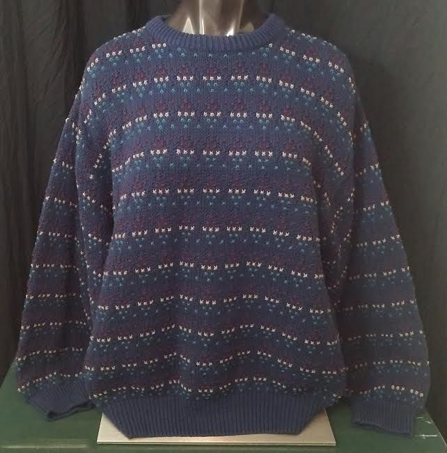 Eddie Bauer mens vtg outdoor outfitter knitted cotton crewneck sweater blue M #EddieBauer #Crewneck