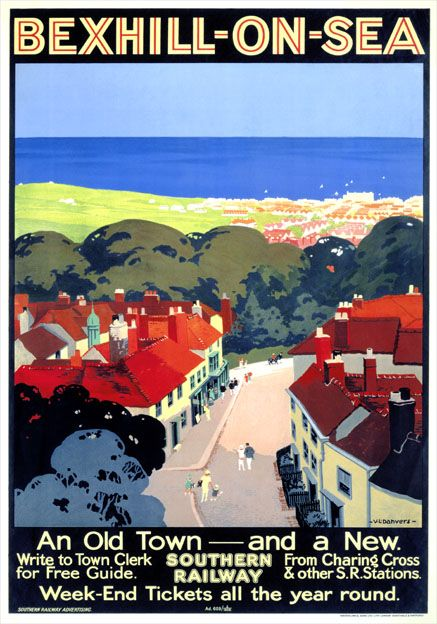 """Bexhill on Sea, East Sussex. Southern Railway produced this poster in 1928 to promote """"Week-End Tickets all the year round."""" to Bexhill-on-Sea. Situated between Eastbourne and Hastings it still today retains much of the charm and style that made it a favourite of the Victorian and Edwardian aristocracy."""