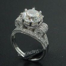 Lujo Torre Eiffel Mujeres Hombres Joyería anillo 9mm 3ct 5A Zircon Cz Engagement Wedding Band Anillo de plata Esterlina 925 regalo(China (Mainland))