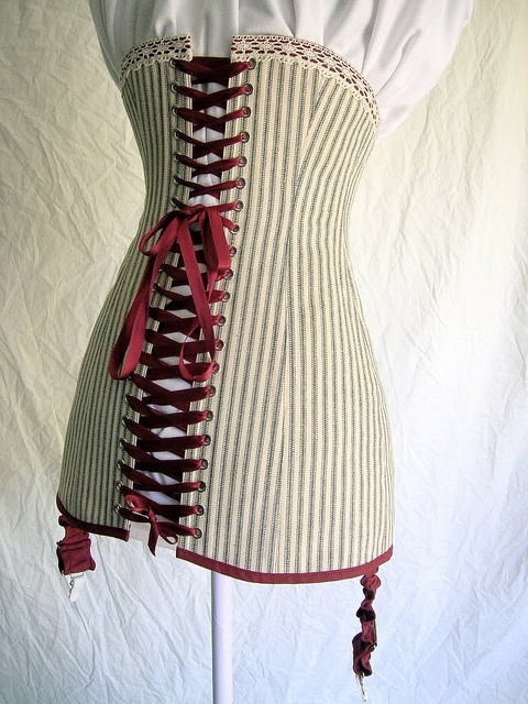 post edwardian corset  Long line corset made with cotton mattress ticking, cotton trim, and cotton cluny lace. Flat steel boning, and steel busk. Patterned by me from a circa 1910-1914 corset.