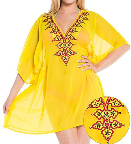 La Leela Chiffon Women Tunic Deep V Neck Embroidered Swim Bikini Cover Up Yellow. Do YOU want COVER UPS in other colors Like Red | Pink | Orange | Violet | Purple | Yellow | Green | Turquoise | Blue | Teal | Black | Grey | White | Maroon | Brown | Mustard | Navy ,Please click on BRAND NAME LA LEELA above TITLE OR Search for LA LEELA in Search Bar of Amazon. STRETCHABLE Elastic gives YOU an ADJUSTABLE and COMFORTABLE Fit. US SIZE : From Regular 14 (L) TO Plus Size 20W (2X) ➤ UK SIZE : FROM…