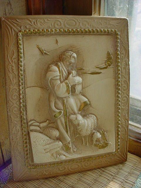 Vtg jesus christ the good shepherd plaque ornate shabby for Plaster wall art