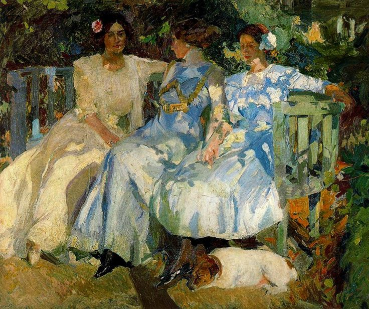 My Wife and Daughters in the Garden, 1910 - Joaquin Sorolla y Bastida (Spanish, 1863-1923)