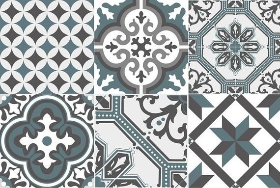 Tiled Adhesive Cement Tiles Ginette 04 Blue Gray Adhesif