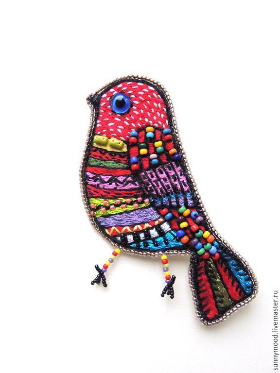 Купить Брошь Птичка - разноцветный, этно, фольк, фольклор, птица, птичка, брошь бисер