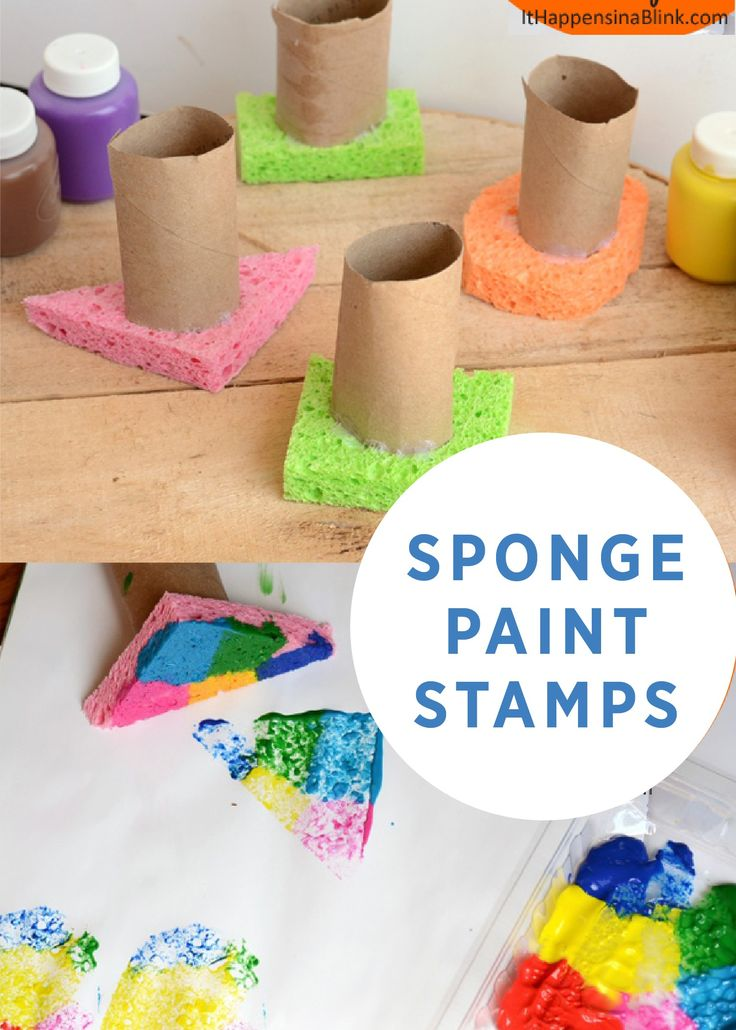 Here's a fine motor activity that teaches shapes and colors to your little ones. These sponge paint stamps include a handle to keep messes at bay, so the whole family can enjoy them! Click here to see this creative craft.