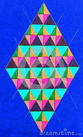 An illustration of a diamond shape with colorful triangles inside on a blue background.