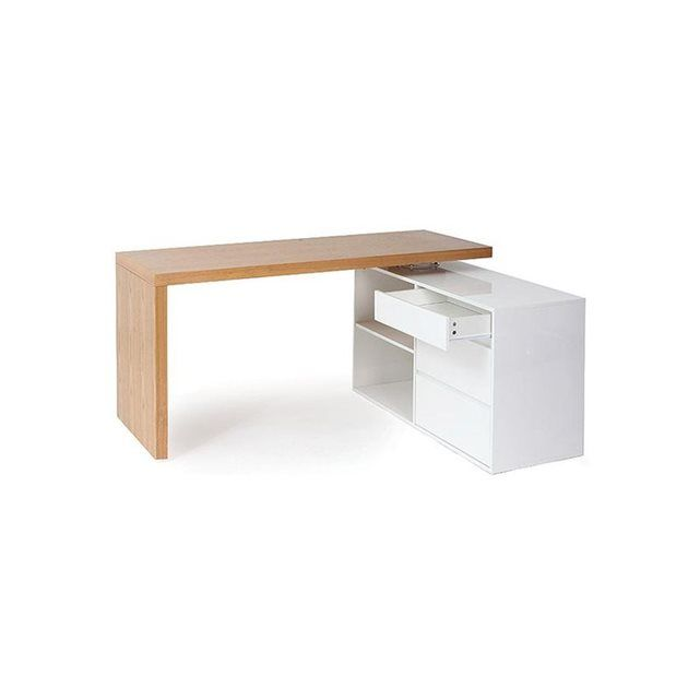 Bureau design modulable blanc brillant et frêne NEW MAX MILIBOO   La Redoute Mobile