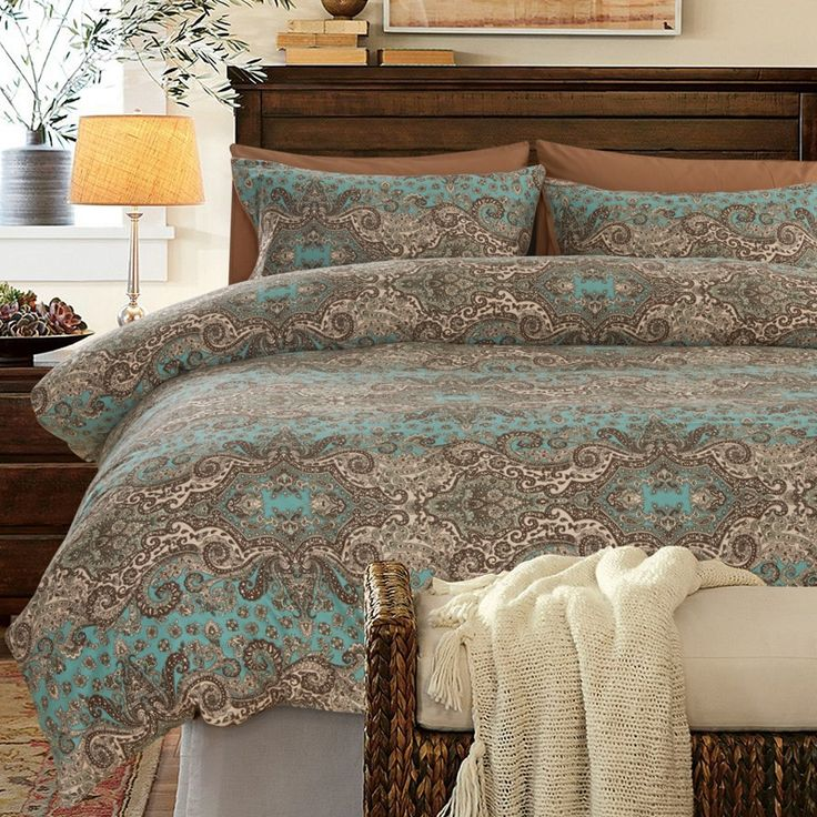 turquoise brown and khaki classic baroque style shabby chic paisley print style egyptian cotton full queen size bedding sets