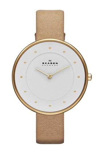 Free shipping and returns on Skagen Round Slim Leather Strap Watch, 38mm at Nordstrom.com. A large, clean face pairs with a slender leather strap to refresh this classic round watch with a modern aesthetic and proportions.