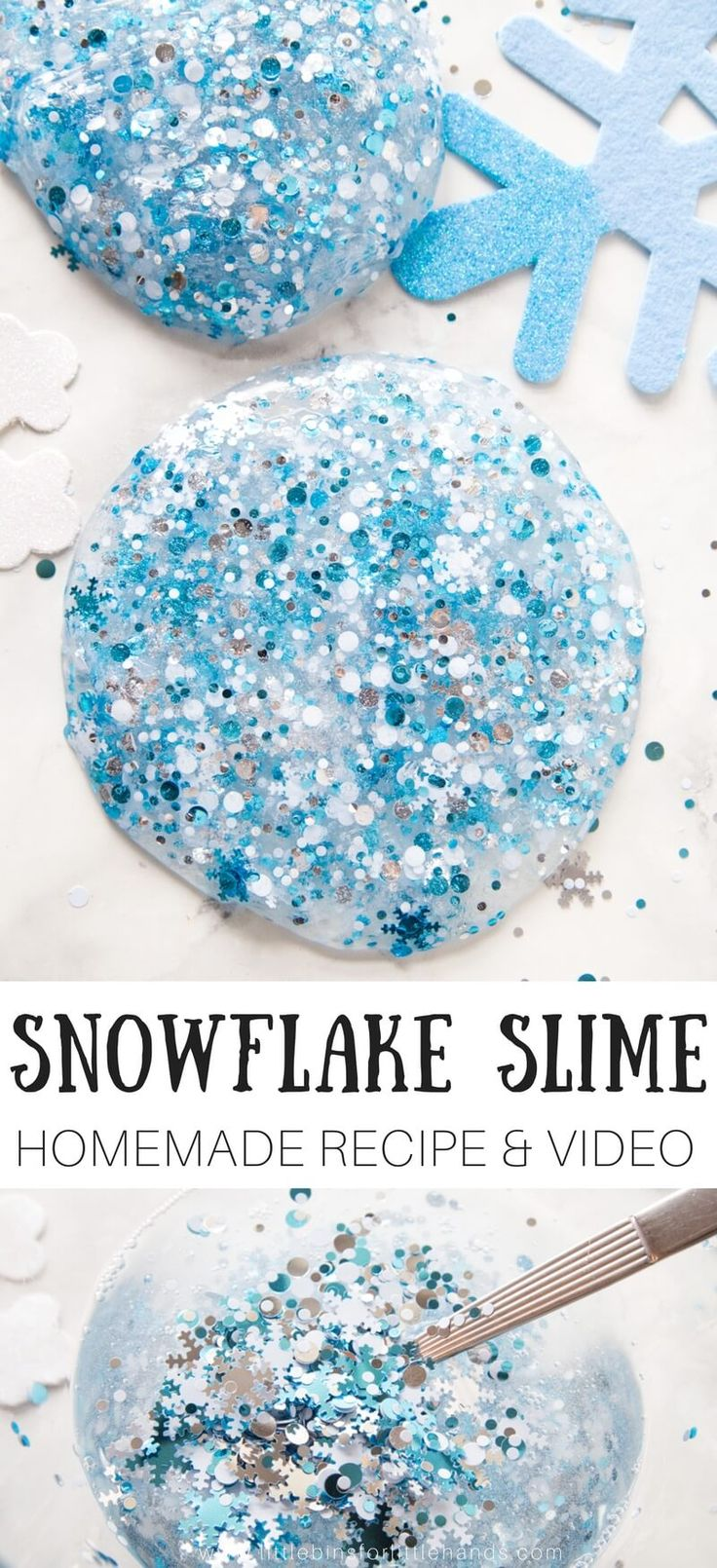 Wonderful winter science with homemade slime! Whether you love or hate snow or live somewhere where there will never be snow, you can still learn how to make homemade snowflake slime recipe with the kids! Making slime is an awesome winter indoor activity.