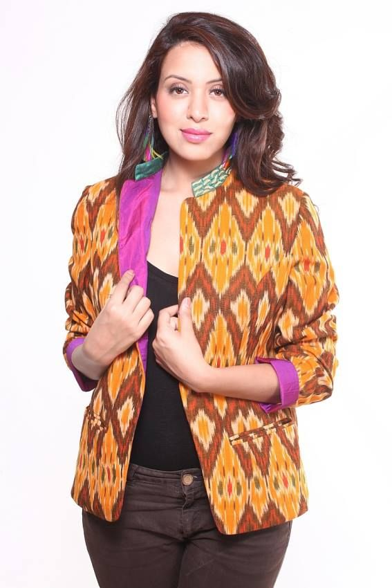 Ocher Cotton Ikat Jacket  Enjoy the superior warmth & style with this Ikat jacket with gives a Kurta look that can be teamed up over jeans, leggings, skirts, dresses etc.  Price : Rs.3500/- Product code : CT/EC/JK04 Available @ www.curiotown.com