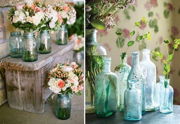 decoration-recup-vases-avec-bocaux-bouteilles-en-verre