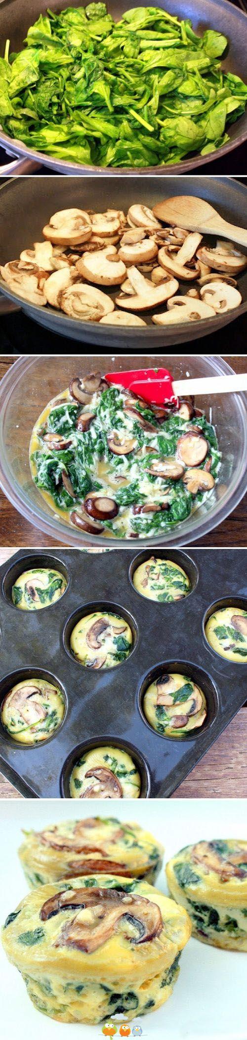 Tartaletas de espinacas con champiñones