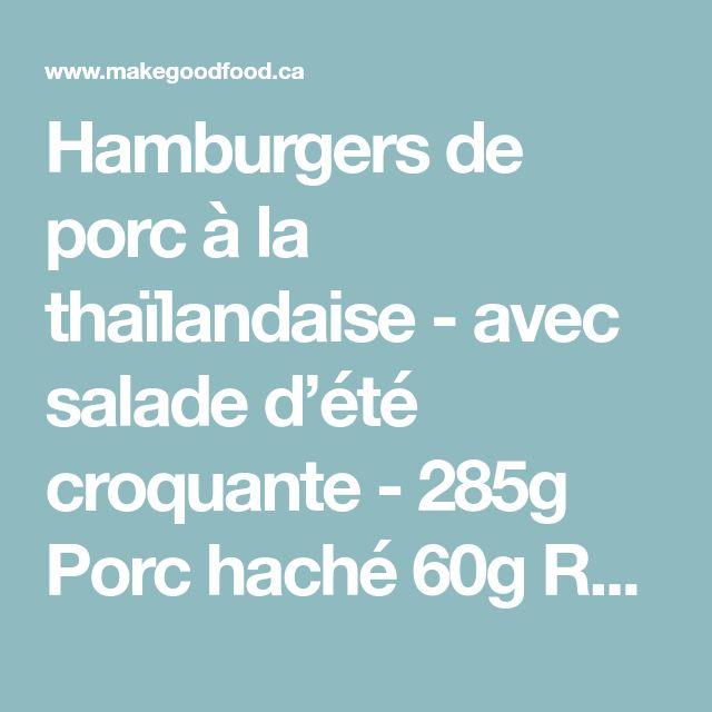 Hamburgers de porc à la thaïlandaise - avec salade d'été croquante - 285g Porc haché 60g Radis 20g Gingembre 1 Concombre libanais 1 Lime 1 Oignon vert 1 Cœur de romaine 200g Carottes nantaises 1 Botte de coriandre 60ml Mayonnaise 30ml Sauce soya réduite en sodium 15ml Sriracha 15ml Sauce de poisson 2 Pains hamburger classiques