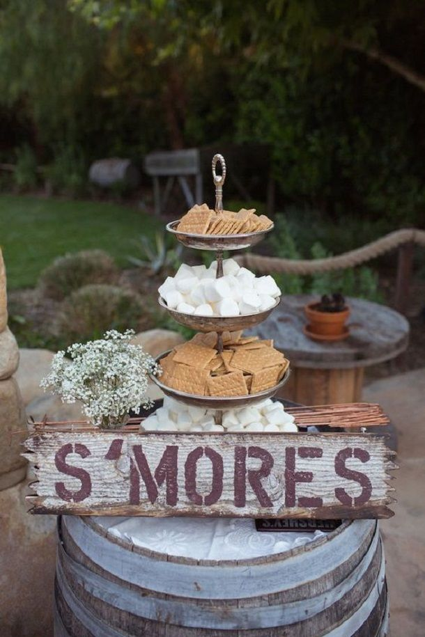 Unique wedding reception ideas on a budget S mores for a late night snack rustic garden