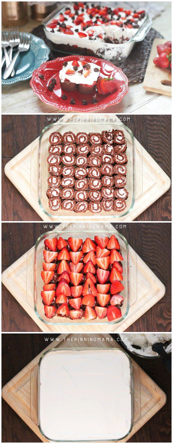 Making this no bake chocolate strawberry cream cake couldn't be easier! 4 ingredients and no oven required! Perfect dessert to make ahead for a party or take to a barbecue this summer!