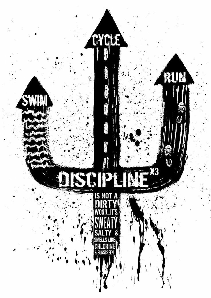Triathlon Motivation Poster - Discipline times three.
