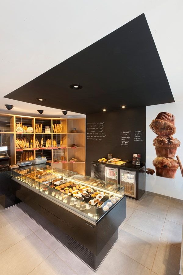 Inviting Bakery Design in France by Cruz, S.L. Boulangerie Gourmande.  Interesting use of