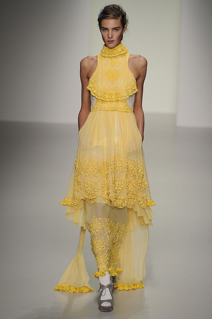 Bora Aksu, SS14 #LFW  Buttercup yellow and a modern colourful spin on victorian lace